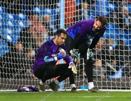 Manchester City goalkeepers Claudio Bravo and Scott Carson ahead of the game