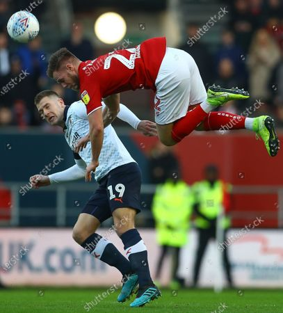 Tomas Kalas of Bristol City and James Collins of Luton Town in action