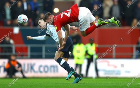 James Collins of Luton Town and Tomas Kalas of Bristol City in action