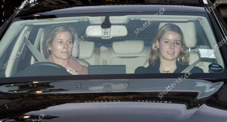 Lady Serena Armstrong-Jones (L) and Lady Margarita Armstrong-Jones (R) leave Buckingham Palace for the traditional Queen's Christmas lunch in London, Britain, 18 December 2019.