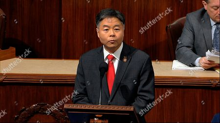 Rep. Ted Lieu, D-Calif., speaks as the House of Representatives debates the articles of impeachment against President Donald Trump at the Capitol in Washington
