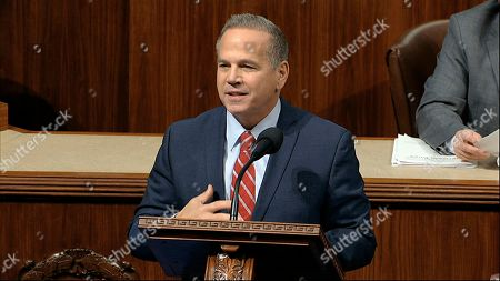 Stock Image of Rep. David Cicilline, D-R.I., speaks as the House of Representatives debates the articles of impeachment against President Donald Trump at the Capitol in Washington