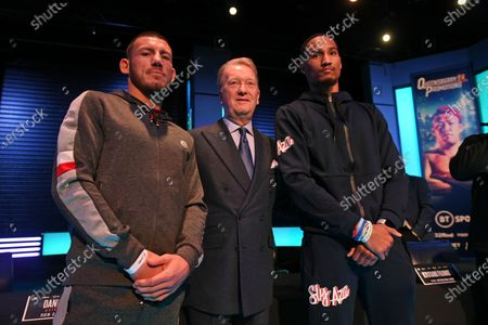 Liam Williams (L), Frank Warren and Alantez Fox during a Press Conference at the BT Studios on 18th December 2019