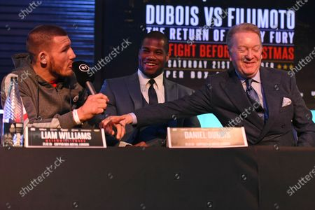 Liam Williams (L), Daniel Dubois and Frank Warren during a Press Conference at the BT Studios on 18th December 2019