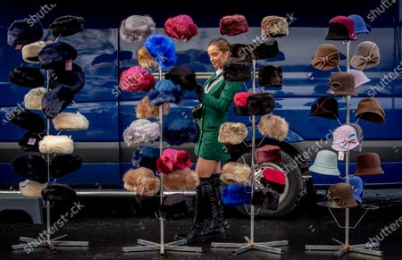 Stock Photo of Hannah Mulholland from Rathfarnham browses the hats on sale at Leopardstown today