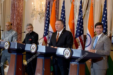 Secretary of State Mike Pompeo, second from right, and Secretary of Defense Mark Esper, right, accompanied by Indian External Affairs Minister Dr. S. Jaishankar, second from left, and Defense Minister Shri Rajnath Singh, left, during a news conference after a bilateral meeting the U.S. and India at the Department of State in Washington
