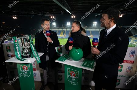 Stock Image of Dennis Wise and Chris Kamara practice the Semi-Final draw