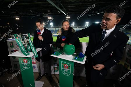 Dennis Wise and Chris Kamara practice the Semi-Final draw