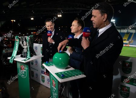 Dennis Wise (C) and Chris Kamara (R) conduct the Semi-Final Draw
