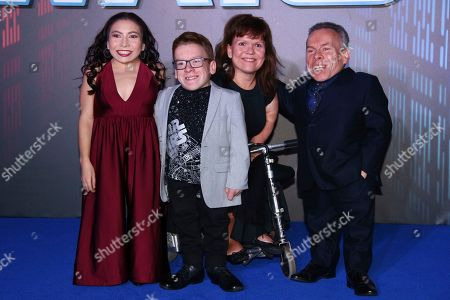Annabelle Davis, Harrison Davis, Samantha Davis, Warwick Davis. Annabelle Davis, Harrison Davis, Samantha Davis and Warwick Davis pose for photographers upon arrival at the premiere for the film 'Star Wars: The Rise of Skywalker', in central London