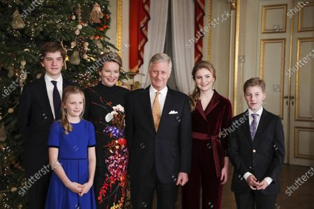 Prince Gabriel, Princess Eleonore, Queen Mathilde, King Philippe, Crown Princess Elisabeth and Prince Emmanuel in the Royal Palace