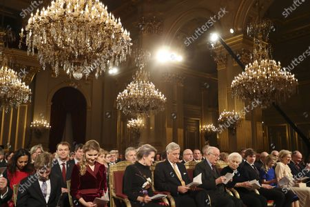 Princess Claire, Prince Laurent and Prince Emmanuel, Crown Princess Elisabeth and Queen Mathilde and King Philippe in the Royal Palace