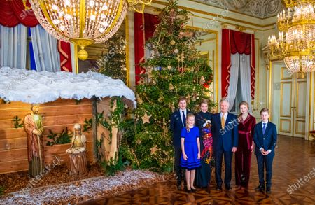 Stock Image of King Philippe and Queen Mathilde with their children Princess Elisabeth, Prince Gabriel, Prince Emmanuel and Princess Eleonore in the Royal Palace