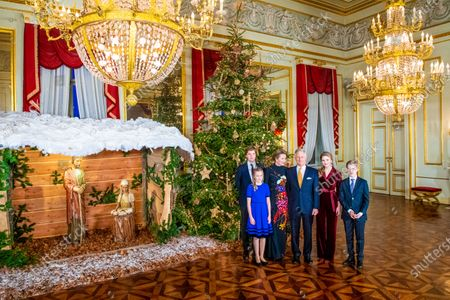 King Philippe and Queen Mathilde with their children Princess Elisabeth, Prince Gabriel, Prince Emmanuel and Princess Eleonore in the Royal Palace