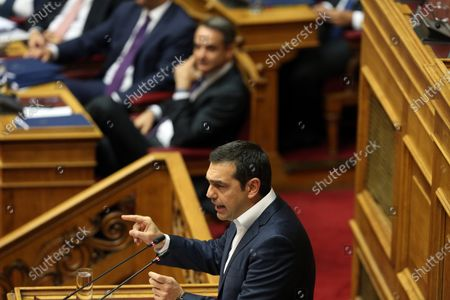 Greek former Prime Minister and leader of SYRIZA party, Alexis Tsipras delivers a speech during a session in the parliament's plenum prior to a budget vote in Athens, Greece, 18 December 2019. The debate on the Greek government's 2020 draft budget started in the parliament five days ago and is scheduled to be concluded after voting tonight.