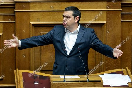 President of left-wing Syriza party Alexis Tsipras speaks during a parliament session in Athens on . Greek lawmakers debate on the state budget for 2020