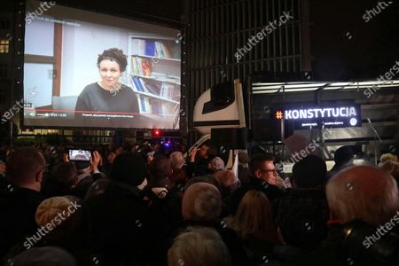 Speech by Nobel laureate Olga Tokarczuk broadcast during a protest against new bill on judges in front of the parliament in Warsaw, Poland, 18 December 2019. MPs from Polish ruling party Law and Justice (PiS) filed 12 December 2019 a bill introducing disciplinary proceedings against judges for acts or omissions that may prevent or significantly impede the functioning of the judiciary, as well as for actions undermining the status of legally appointed judges.