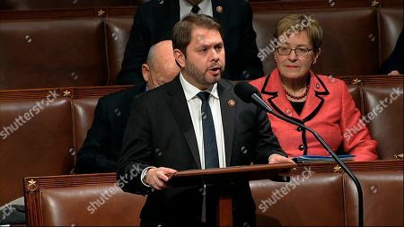 Rep. Ruben Gallego, D-Ariz., speaks on the House floor as the House of Representatives debates the articles of impeachment against President Donald Trump at the Capitol in Washington
