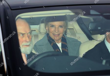 Princess Michael of Kent, and Prince Michael of Kent (foreground) of Kent amongst the guests as members of the Royal family attend The Queen's annual Christmas lunch.