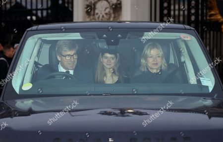 Stock Picture of Lady Helen Taylor, husband Timothy Taylor and daughter Estelle Taylor, were amongst the guest leaving the party as members of the Royal family attend The Queen's annual Christmas lunch.