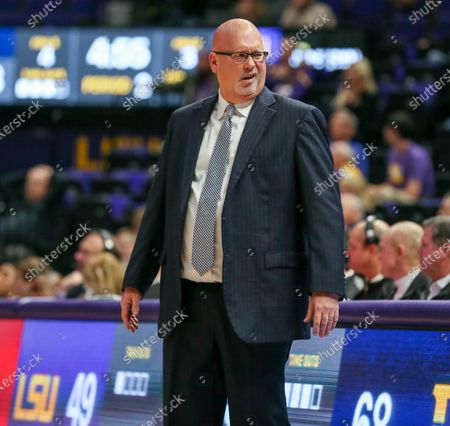 East Tennessee St. Head Coach Steve Forbes reacts to a call during NCAA Basketball action between the East Tennessee St. Buccaneers and the LSU Tigers at the Pete Maravich Assembly Center in Baton Rouge, LA. East Tennessee St. defeated LSU 74-63