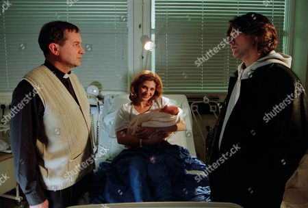 Ep 3076 Tuesday 25th December 2001 Whilst attempting to resolve their differences with Ashley, Bernice suddenly doubles up in pain - the baby is on its way! Ashley accompanies her to hospital, meeting Diane. Ashley is hurt though to discover Bernice has asked Diane to call Carlos. The Spanish chef receives a frosty reception from a rowing Rodney and and a drunken Nicola who takes a swing at him. Meanwhile Bernice battles on in labour and eventually gives birth, but which man will she want by her side? With Ashley Thomas, as played by John Middleton ; Bernice Thomas, as played by Samantha Giles ; Carlos Diaz, as played by Gary Turner