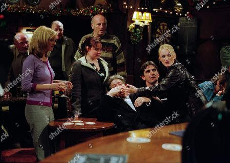 Ep 3072 Wednesday 19th December 2001 Thinking Diane has slept with Rodney, Jack ends their relationship, despite her doing her best to explain what really happened. She sees red when Rodney walks in to The Woolpack, accusing him of ruining her life she sends him to the floor with a punch. With Nicola Blackstock, as played by Nicola Wheeler ; Rodney Blackstock, as played by Patrick Mower ; Terry Woods, as played by Billy Hartman; Lady Tara Thornfield, as played by Anna Brecon ; Ollie Reynolds, as played by Vicky Binns ; Sean Reynolds, as played by Stephen McGann.