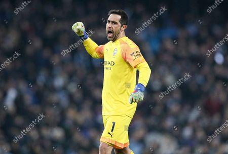 Claudio Bravo of Manchester City celebrates the 1st goal scored by Gabriel Jesus