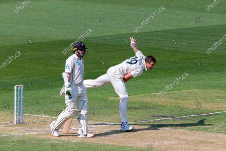 James Pattinson of Australia bowls during day two