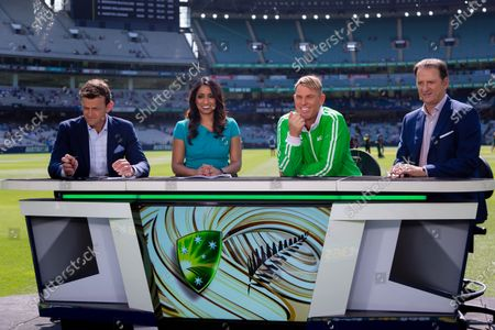 Stock Picture of Shane Warne and the Commentary team during day two