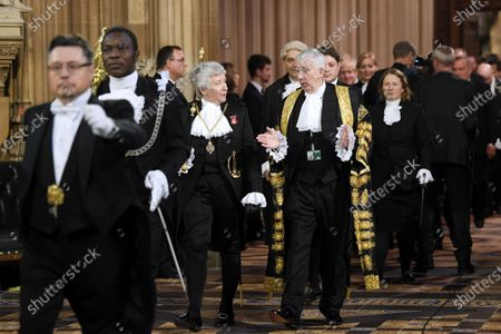 Black Rod, Sarah Clarke, and Speaker of the House Lindsay Hoyle walk through the Central Lobby to hear the Queen's Speech, Houses of Parliament.