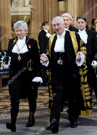 Stock Picture of Black Rod, Sarah Clarke, and Speaker of the House Lindsay Hoyle walk through the Central Lobby to hear the Queen's Speech, Houses of Parliament.