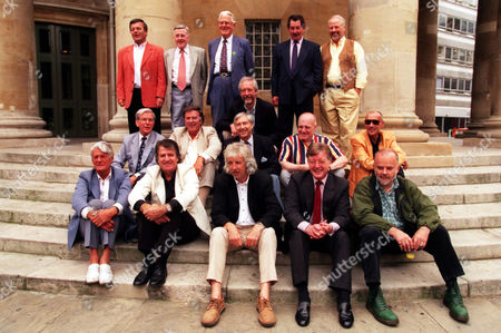 Fifteen Of The Original Radio 1 Dj's Line-up On The Steps Of All Soul's Church Central London In A Recreation Of The Original Publicity Photograph Taken 30 Years Ago That Launched The New Station. (l-r) Back Row: Tony Blackburn Jimmy Young Robin Scott (1st Controller) Duncan Johnson (squatting) Dave Cash And Pete Brady; Middle Row: Bob Holness Terry Wogan Keith Skues Chris Denning And Pete Myers; Front Row: Pete Murray Ed Stewart Pete Drummond Mike Ahern And John Peel. Those Missing From The Original Picture Are Barry Aldiss Kenny Everett And Mike Paven All Deceased; Mike Lennox Johnny Moran Dave Rider And David Symonds Who Were Not Able To Attend.