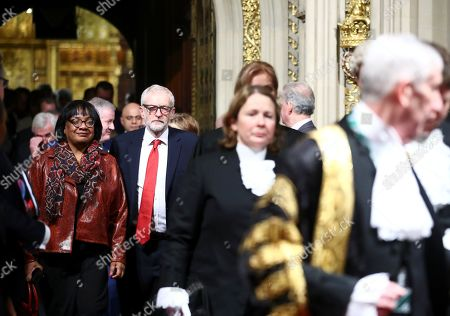 Britain's Labour Party Leader of the Opposition Jeremy Corbyn and Shadow Home Secretary Diane Abbott walk during the State Opening of Parliament at the Houses of Parliament