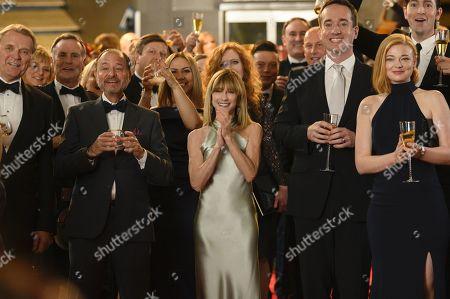 David Rasche as Karl, Fisher Stevens as Hugo Baker, Holly Hunter as Rhea Jarrell, Matthew Macfadyen as Tom and Sarah Snook as Shiv Roy