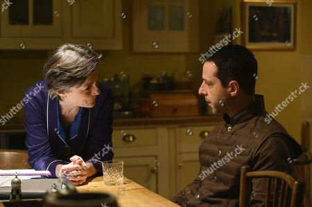 Harriet Walter as Lady Caroline Collingwood and Jeremy Strong as Kendall Roy