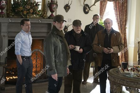 Kieran Culkin as Roman Roy, Jeremy Strong as Kendall Roy, Brian Cox as Logan Roy and Peter Friedman as Francis