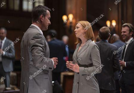 Matthew Macfadyen as Tom and Sarah Snook as Shiv Roy
