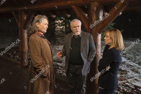 Cherry Jones as Nan Pierce, Brian Cox as Logan Roy and Holly Hunter as Rhea Jarrell