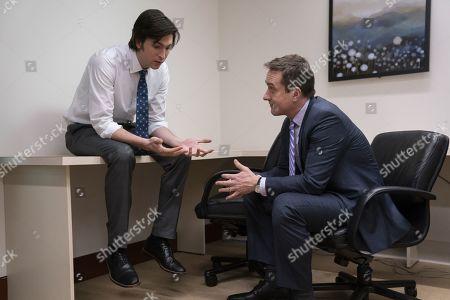 Nicholas Braun as Greg Hirsch and Matthew Macfadyen as Tom