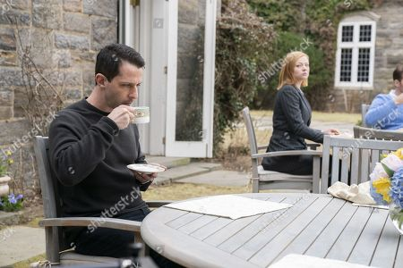 Stock Image of Jeremy Strong as Kendall Roy and Sarah Snook as Shiv Roy