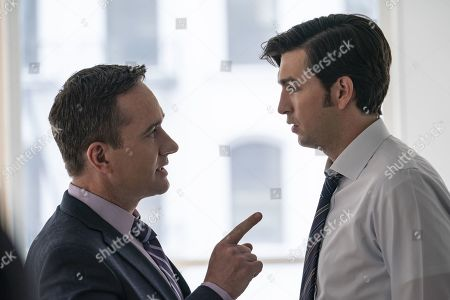 Matthew Macfadyen as Tom and Nicholas Braun as Greg Hirsch