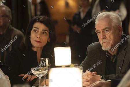 Hiam Abbass as Marcia Roy and Brian Cox as Logan Roy