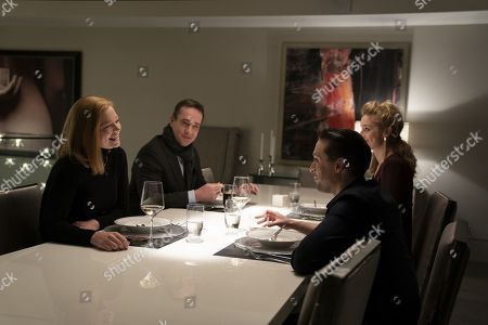 Stock Image of Sarah Snook as Shiv Roy, Matthew Macfadyen as Tom, Jeremy Strong as Kendall Roy and Caitlin Fitzgerald as Tabitha