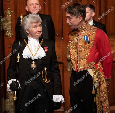 Black Rod Sarah Clarke awaits the arrival of the queen on the day of the state opening of parliament.