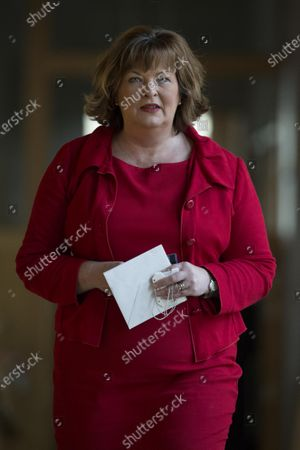 Fiona Hyslop, Cabinet Secretary for Culture, Tourism and External Affairs, makes her way to the Debating Chamber.
