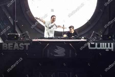 Stock Picture of Tiesto and Martin Garrix perform during MDL Beast, a three day festival in Riyadh, Saudi Arabia, bringing together the best in music, performing arts and culture.
