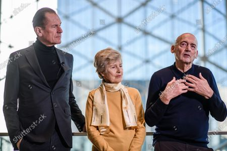 Dutch architect Rem Koolhaas (R) speaks next to Axel Springer Supervisory Board Vice Chairwoman Friede Springer (C) and Axel Springer CEO Mathias Doepfner (L) during a hand-over of keys ceremony at the new Axel Springer building in Berlin, Germany, 19 December 2019. The construction of the new building, an architectural draft of Dutch architect Rem Kolhaas, started three ago in October 2016. From spring 2020 various parts of the Axel Springer publishing house, amongst them the WELT newspaper, shall reside in the new complex.