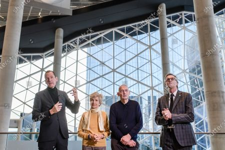 Axel Springer CEO Mathias Doepfner (L) gives a speech next to Axel Springer Supervisory Board Vice Chairwoman Friede Springer (2-L), Dutch architect Rem Koolhaas (3-L) and Board member of Ed. Zueblin Joern Beckmann (R) during a hand-over of keys ceremony at the new Axel Springer building in Berlin, Germany, 19 December 2019. The construction of the new building, an architectural draft of Dutch architect Rem Kolhaas, started three ago in October 2016. From spring 2020 various parts of the Axel Springer publishing house, amongst them the WELT newspaper, shall reside in the new complex.