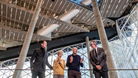 Dutch architect Rem Koolhaas (3-L) speaks next to Axel Springer Supervisory Board Vice Chairwoman Friede Springer (2-L), Axel Springer CEO Mathias Doepfner (L) and Board member of Ed. Zueblin Joern Beckmann (R) during a hand-over of keys ceremony at the new Axel Springer building in Berlin, Germany, 19 December 2019. The construction of the new building, an architectural draft of Dutch architect Rem Kolhaas, started three ago in October 2016. From spring 2020 various parts of the Axel Springer publishing house, amongst them the WELT newspaper, shall reside in the new complex.
